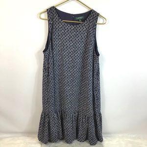 LAUREN RALPH LAUREN Sleeveless Blue White Dress 16